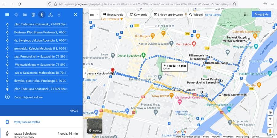 trasa zwiedzania Szczecina